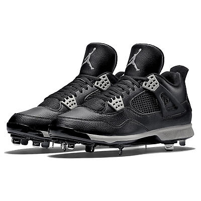 bade8906f548 NIKE AIR JORDAN 4 RETRO IV METAL BASEBALL CLEATS SIZE 12 BLACK GREY  807710-010