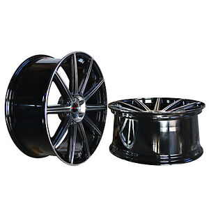 4 GWG WHEELS 22 inch STAGGERED Black Rims MOD Rims fits BMW X5 (E70) 2007 - 2017
