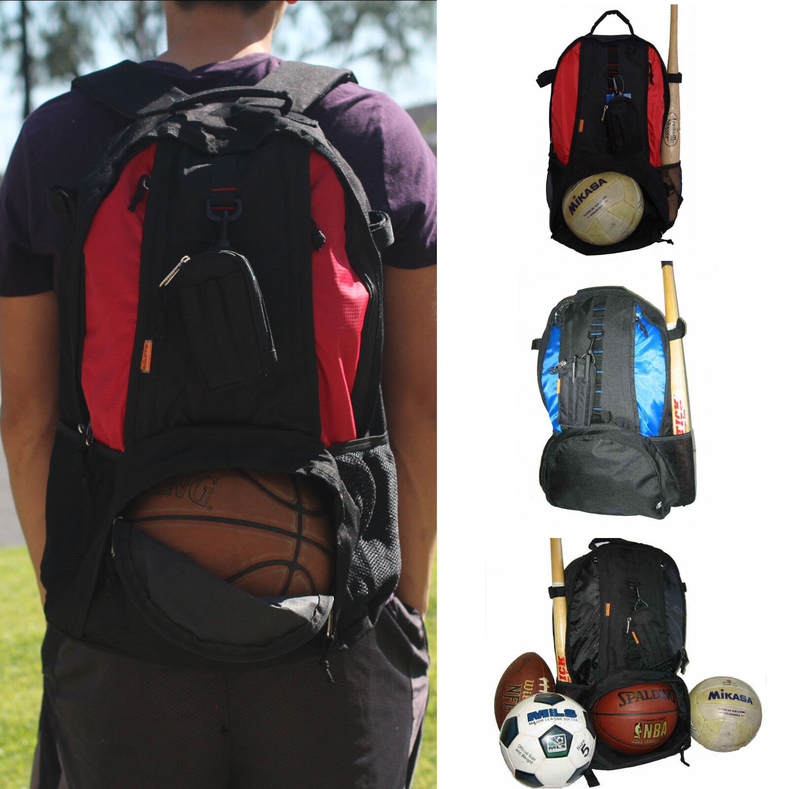 Play Backpack Red Blue Black Fit Basketball Football Volleyball Soccer Shoes