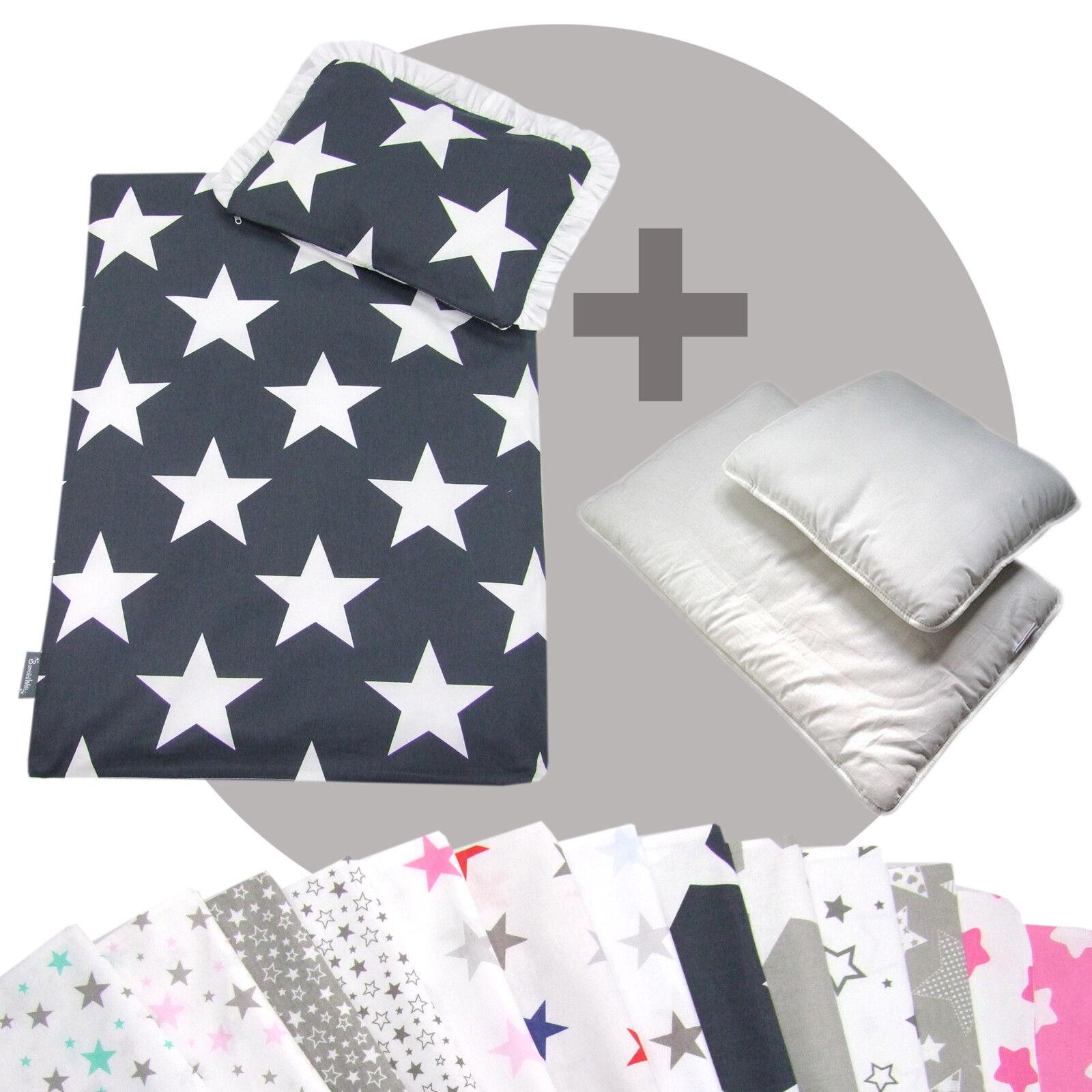 Bettwäsche-Set 4-tlg. für Kinderwagen Babybett Decke+Kissen+Füllung (STARS)