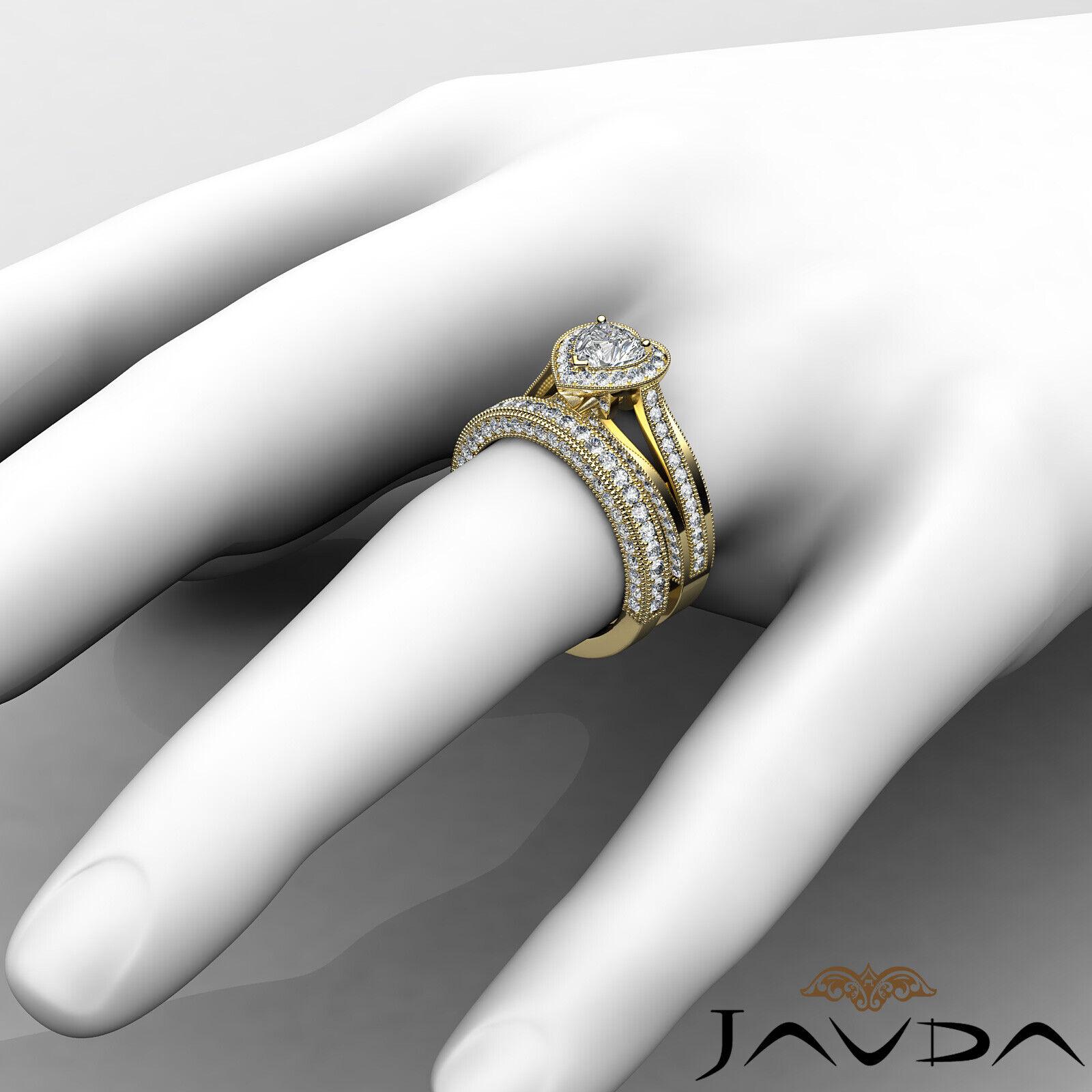 2.24ctw Halo Milgrain Edge Bridal Heart Diamond Engagement Ring GIA F-VS1  Gold 11