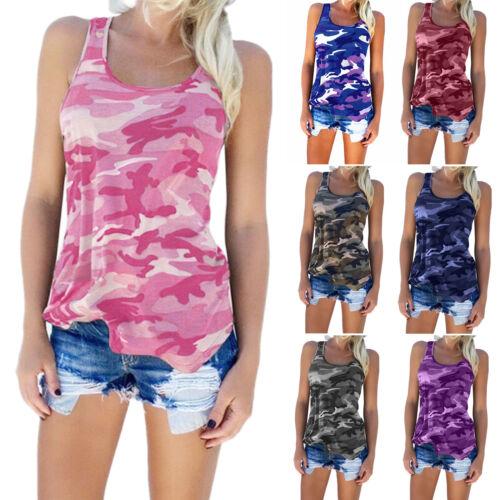 Plus Size Women Camo Sleeveless Vest Tank Tops Camisole Gym