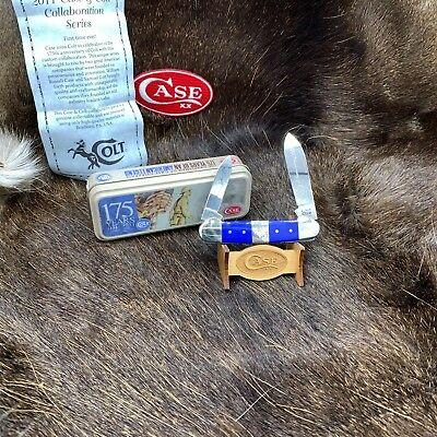 "2011 Case Colt Blue Bone Canoe Knife Mint In Collector Tin - CA47471 - ""C5"""