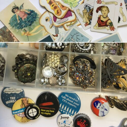 Lot Assorted Junk Journal Mixed Media Jewelry Beads Game Pieces Pins With Case