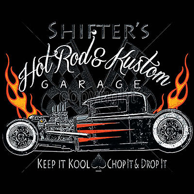 Flamed Hot Rod (Cool Hot Rod T Shirts Rat Rods Flames Whitewalls Retro Jalopy S to 6XL and Tall )