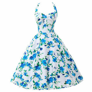 FLORAL Rockabilly Vintage Swing Work Evening Dress 50s Retro Pin Up Prom Dress