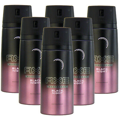 6 x 150ml Axe BLACK NIGHT Deo Deospray Deodorant Bodyspray Herren Parfüm