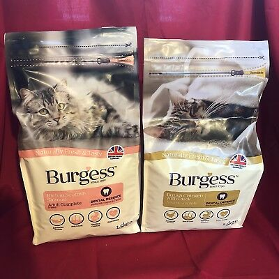 2 Burgess Dry Adult Cat Food Chicken & Salmon Dental Care Digestion Urinary Skin
