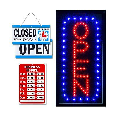 Ultima Led Neon Open Sign For Business Vertical Lighted Sign Open With Flash...