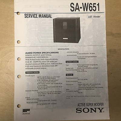 Sony Service Manual for the SA-W651 Super Woofer ~ Repair