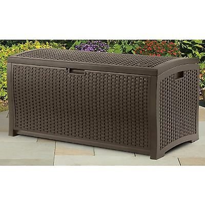 Suncast Wicker Resin Storage Organizing Patio Pool Garden Porch Deck Box Mocha