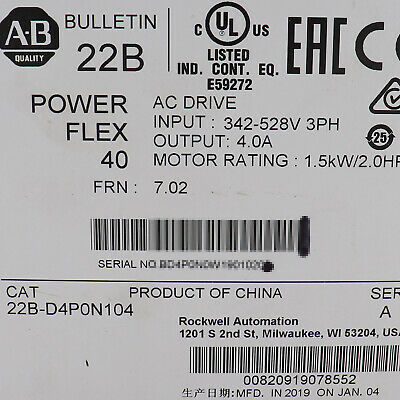 New Sealed Allen Bradley 22b-d4p0n104 A Powerflex 40 Ac Drive 2hp 1.5kw