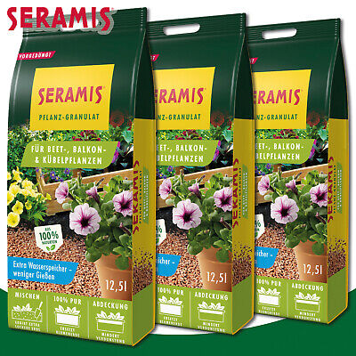 Seramis 3 x 12,5 L Pflanz-Granulat For Flower Bed Balcony & Pot Plants