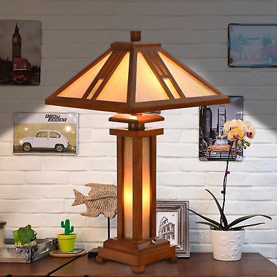 Tiffany Style Dry Table Lamp Antique Double Light Lit Base Home Decor