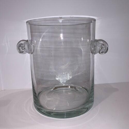 Elegant Blown Glass Decorative Vase Hurricane Centerpiece w/ Round Handles