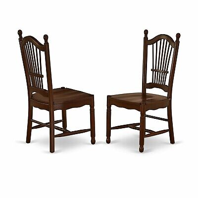 Set of 2 Dover dinette kitchen dining chairs w/ plain wood seat in mahogany