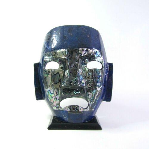 Mayan Aztec Death Mask Mexican Semi Precious Stones Lapis Lazuli Mother Vintage