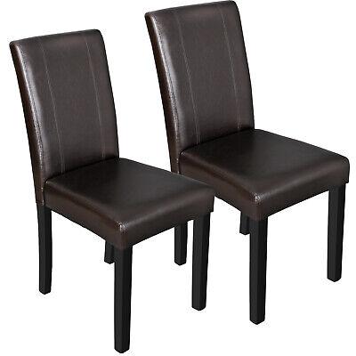 Dining Parson Room Chairs Kitchen Formal Elegant Leather Design 2 Set Brown ()
