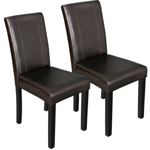 Dining Parson Room Chairs Kitchen Formal Elegant Leather Design 2 Set Brown Chairs