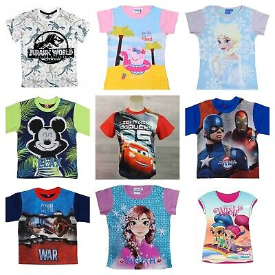 New Novelty Character Boys Girls Kids Childrens T-Shirts Tops - Sizes 2-16 Years