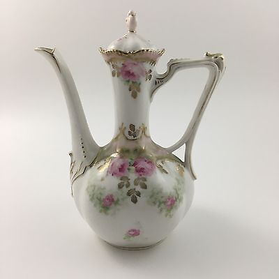 Antique 19c. RS Prussia Demitasse Coffee Pot Pink Roses