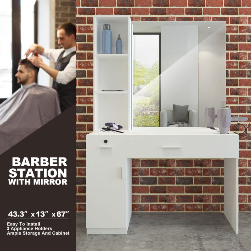 White Wall Mount Barber Salon Styling Station Makeup Beauty Dressing TableMirror