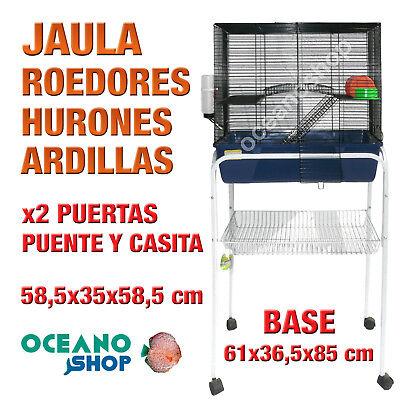 JAULA ROEDORES HURON CON 2 PUERTAS PUENTE Y CASITA 58,5x35x58,5 cm L516...
