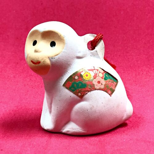 Japanese Clay Bell Pottery Dorei Vintage Zodiac Monkey Lucky Charm Fortune White