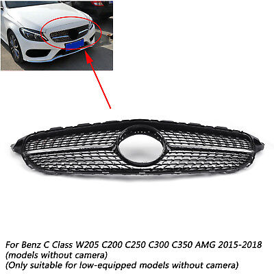 Black Diamond  C300 C350 C-Class Grille For Mercedes Benz 2015-2018 No Camera