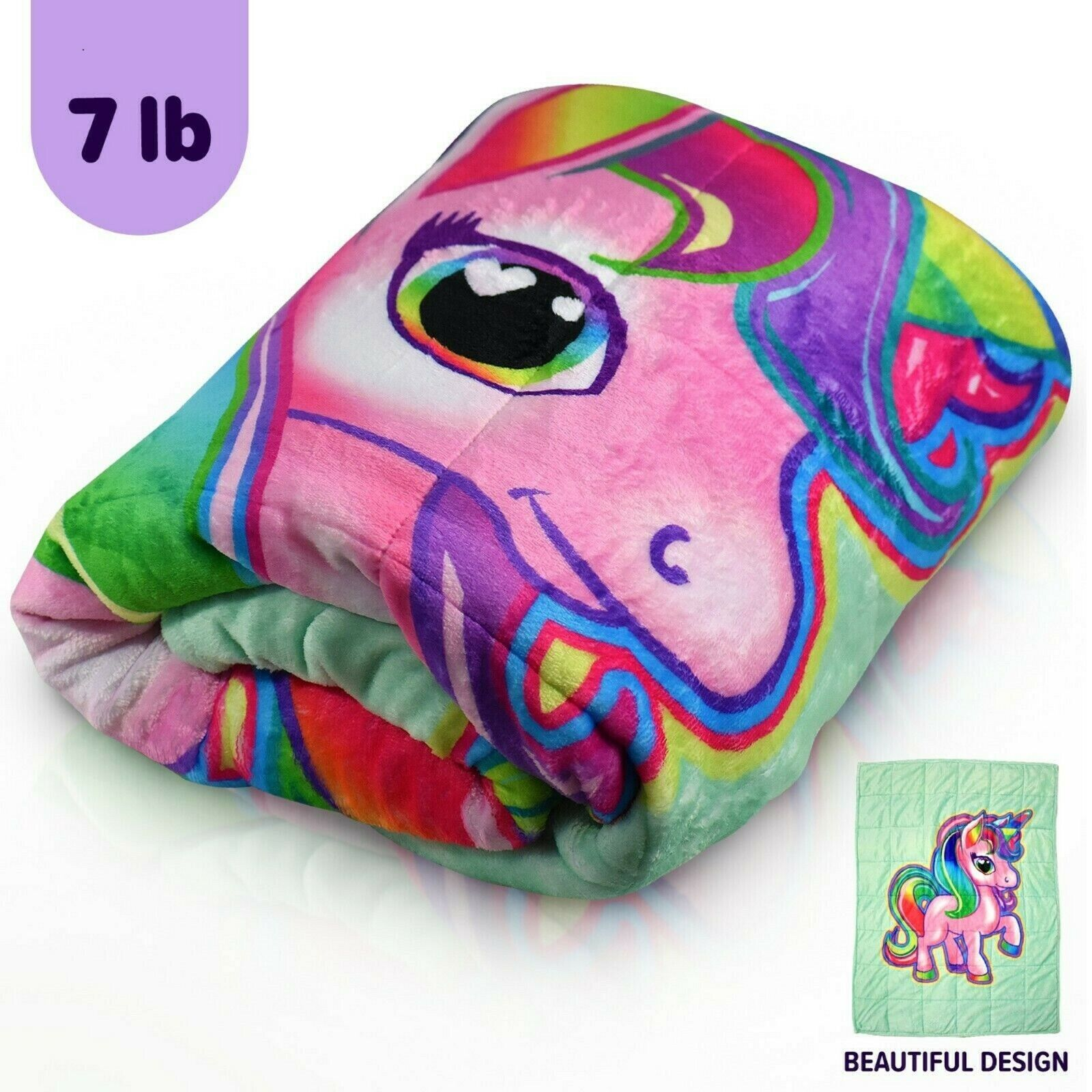 Bell + Howell Kids Unicorn & Car Weighted Blanket For Calmer Deeper Sleep! NEW