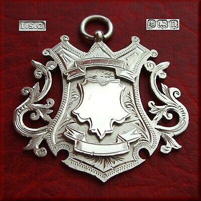 Large antique solid silver fob medal for a pocket watch chain / pendant 1912 22g