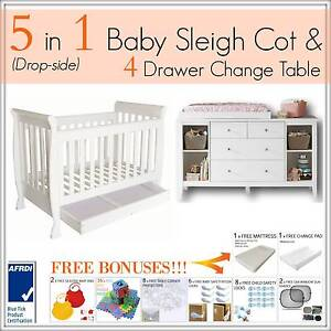 5 in 1 Baby Toddler Child Cot Bed w/ 4 Drawer Change Table White Mount Kuring-gai Hornsby Area Preview