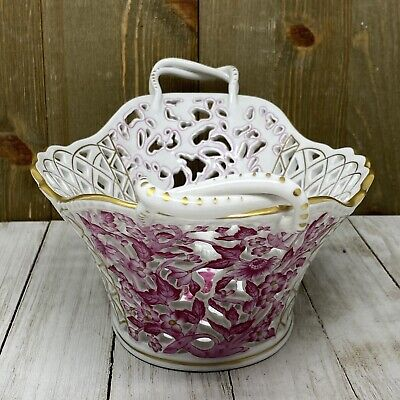 "HEREND Porcelain Pink Chinese Flowers Reticulated 11"" Basket w/ 22 Carat #7431"