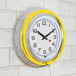 Lavish Home 14 Retro Yellow Neon Wall Clock w/Double Light Ring Vintage Style