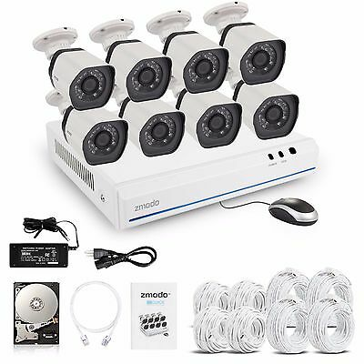 Zmodo 1080P 8CH HDMI NVR 1.0 MPNetwork Outdoor IR-cut Security Camera System 1TB