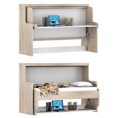 Funktionsbett Dakota Klappbett Schreibtisch Schrank Eiche San Remo weiß 90x200 ()