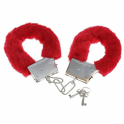 FURRY METAL HANDCUFFS RED Party Police Fun Cuffs Stag Hen UK SELLER FAST POST (Furry Kostüme Uk)