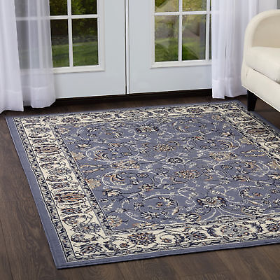 Blue Bordered Modern Area Rug Square Floral Carpet - Actual