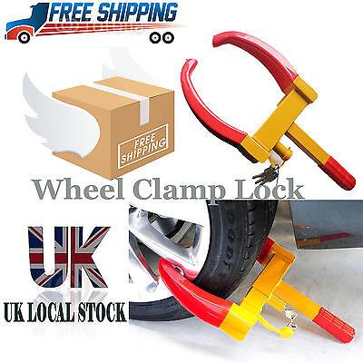 BRAND NEW HEAVY DUTY KEY LOCK CAR CARAVAN TRAILER SECURITY WHEEL CLAMP LOCK