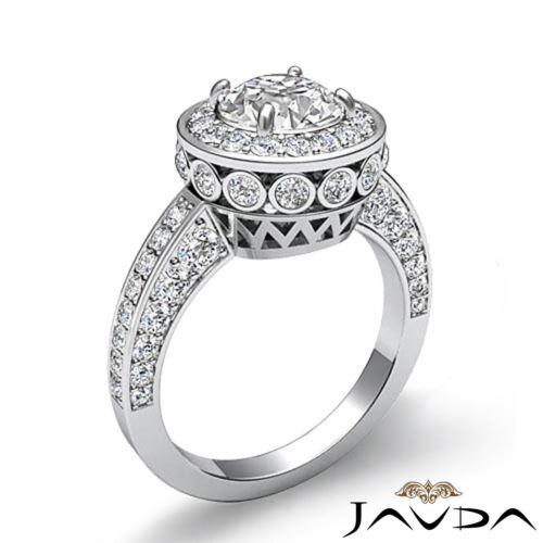 1.7ct Round Halo Pave Diamond Engagement Elegant Ring GIA F VVS2 Platinum 950 1