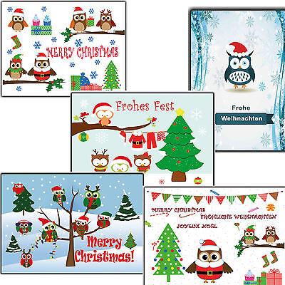 Eule Karten (Weihnachtskarten Set 10 50 100 500 Stück lustig Eulen Eule weihnachtskarte Karte)
