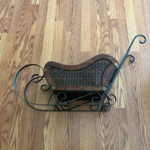 Vintage Small Wood, Wicker & Wrought Iron Sleigh