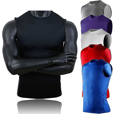 Men Sports Compression Sleeveless Base Layer Tank Workout Gym Solid T-Shirt Top Activewear
