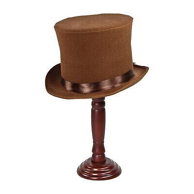 MaD HaTTeR Willy Wonka Wilder SteamPUNK Victorian Dickens Costume Top Hat Brown](Steampunk Mad Hatter Costume)