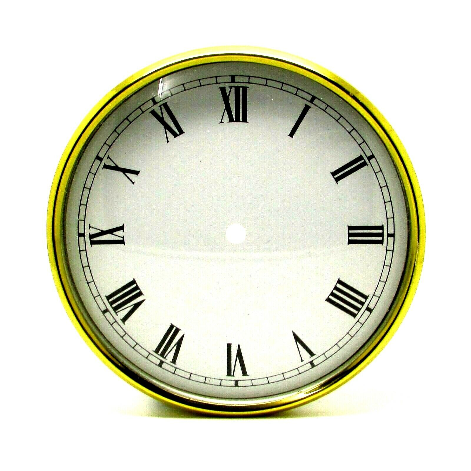 New Brass Clock Bezel With White Dial Pan /& Domed Glass Face 91.5mm Clock Making