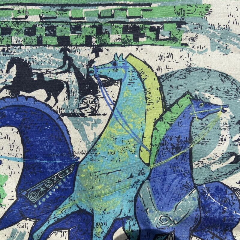 Horse Print Fabric Mid Century Modern Canvas Vintage Decor Blue Art Bright Green