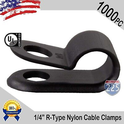 1000 Pcs Pack 14 Inch R-type Cable Clamps Nylon Black Hose Wire Electrical Uv