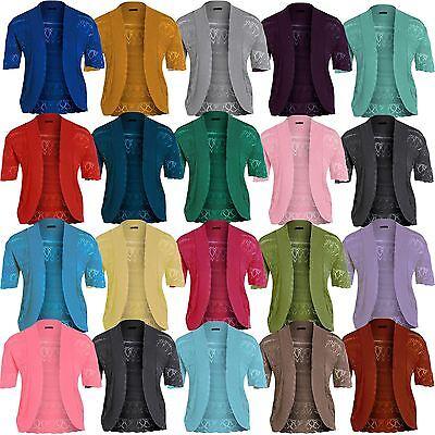Neue Frauen Plus Size Crochet Knit Cardigans Fischnetz Bolero Tops 44-54 ()