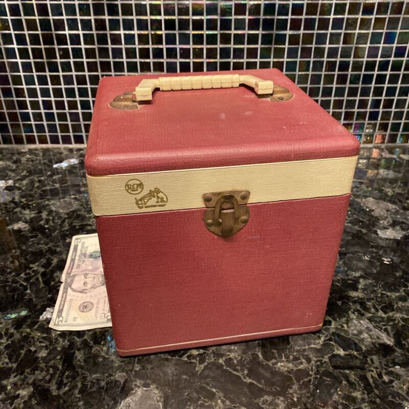 VNTG RCA Victor His Masters Voice 45 Carrying Case w/ Handle RETRO Old Fashioned