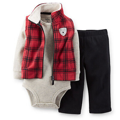NWT Carter's 3pc Red Thermal Bodysuit Vest Pant Set Baby boys 6 9 12 18 24 month Baby Boys Thermal Bodysuit